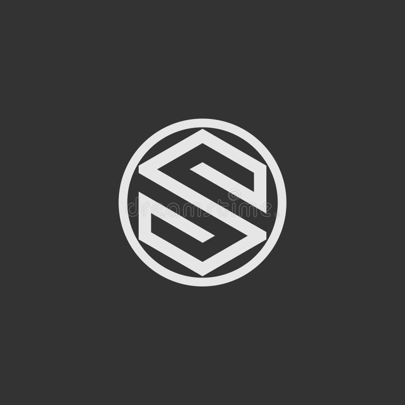 Brief S om vector van het vorm de moderne en eenvoudige embleem vector illustratie