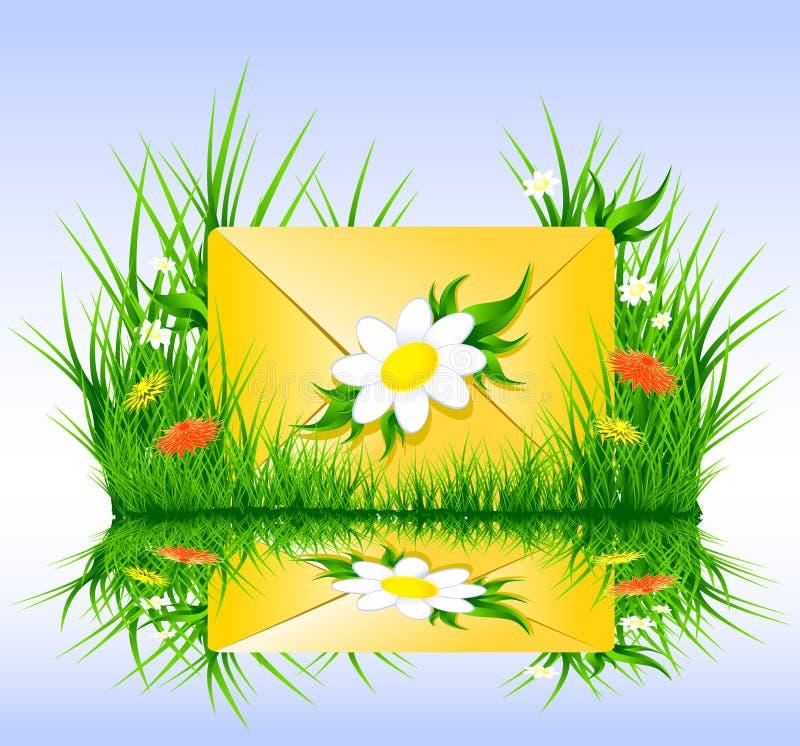 Brief of sms in de zomerstijl van de graslente stock illustratie