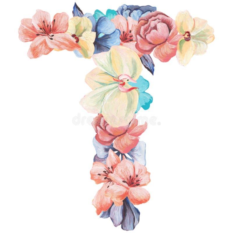 Brief T van waterverfbloemen, geïsoleerde die hand op een witte achtergrond, huwelijksontwerp, Engels alfabet wordt getrokken stock illustratie