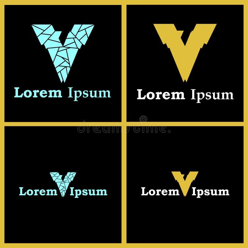 Brief V Emblemen met Smart Verborgen Nummer Zeven vector illustratie