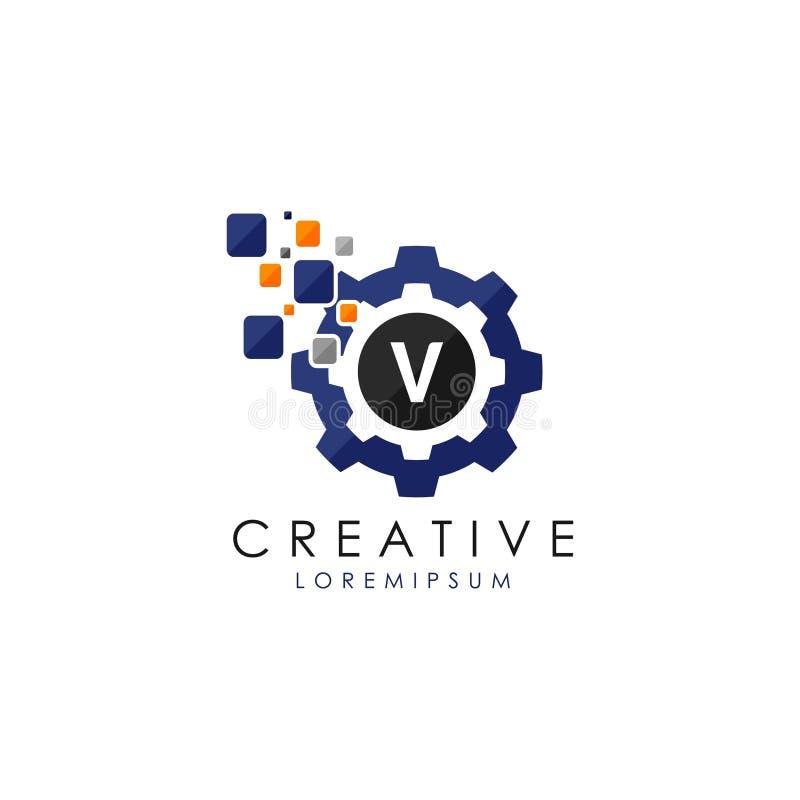 Brief V Gegevens Digitaal Toestel Logo Vector vector illustratie