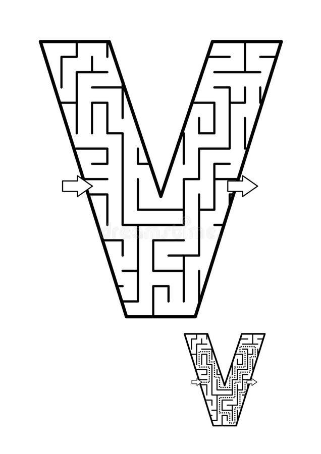 Brief V labyrintspel voor jonge geitjes royalty-vrije illustratie
