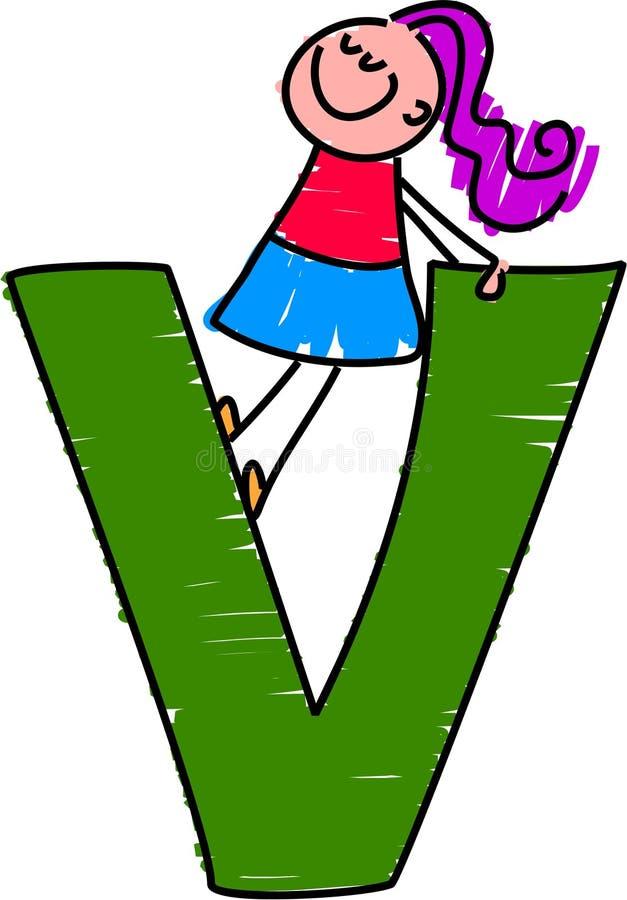 Brief V meisje stock illustratie