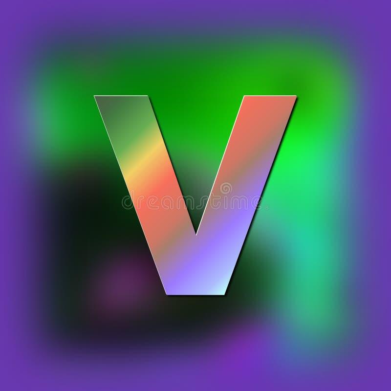 Brief V wordt geplaatst op de textuur vector illustratie