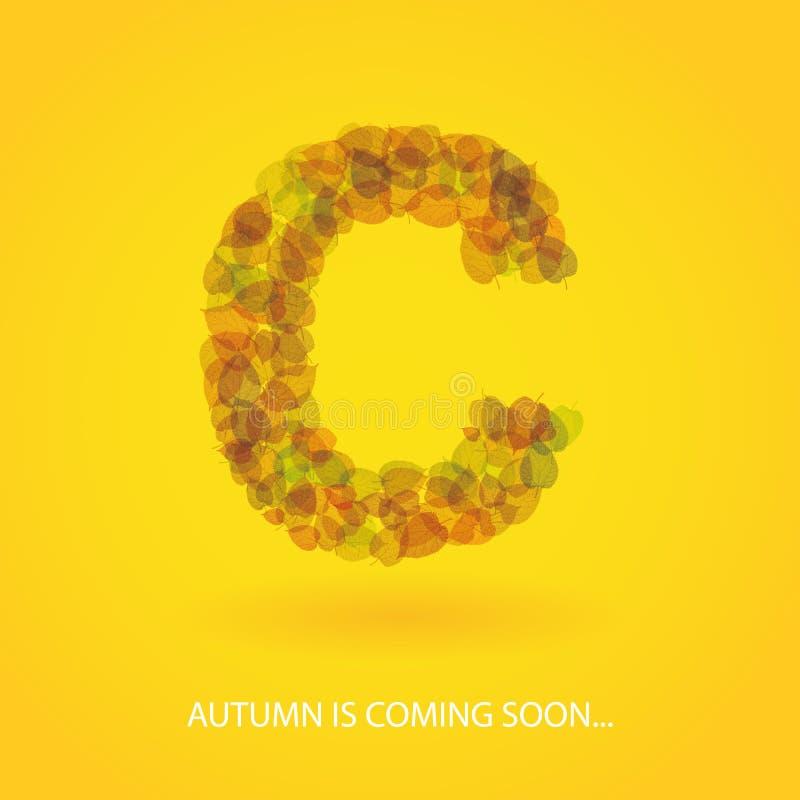 Brief van Kleurrijk Autumn Leaves wordt gemaakt - Vectorachtergrond die stock illustratie