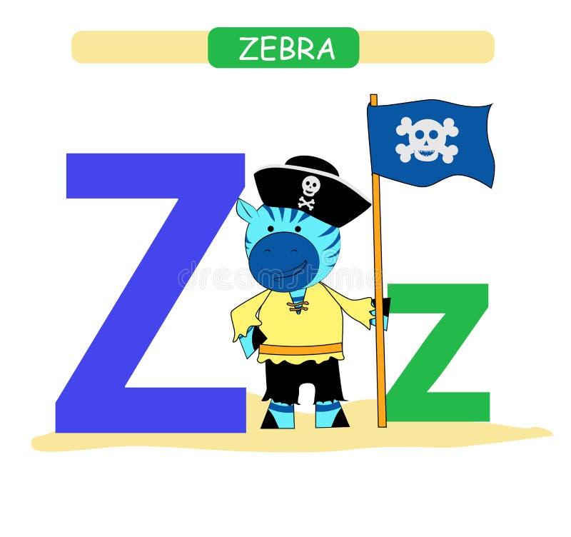 Brief Z en grappige beeldverhaalzebra Dierenalfabet a-z Leuk dierentuinalfabet in vector voor jonge geitjes die Engelse woordensc vector illustratie