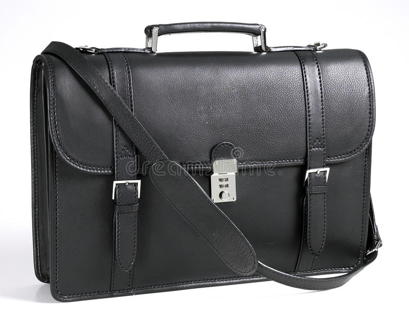 Briefcase. A black genuine leather briefcase royalty free stock photo