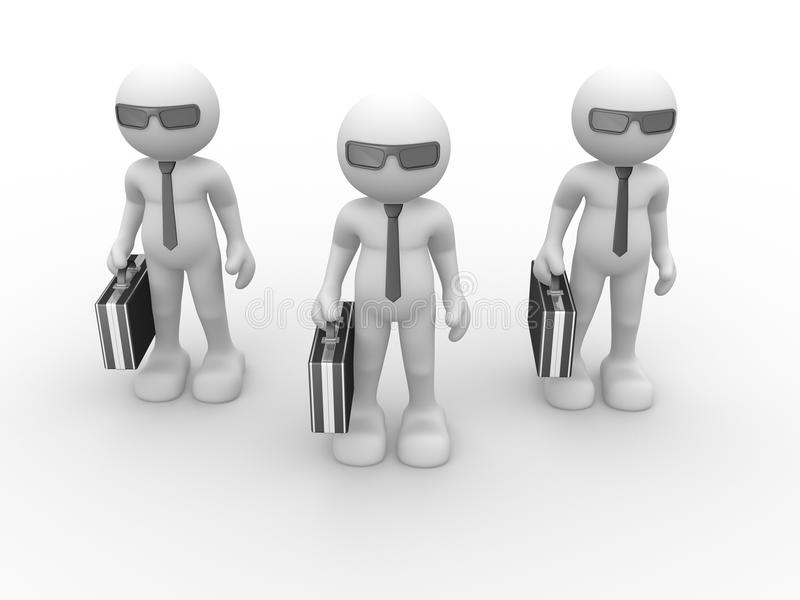 Briefcase. 3d people - human character with briefcase and sunglasses. 3d render illustration stock illustration