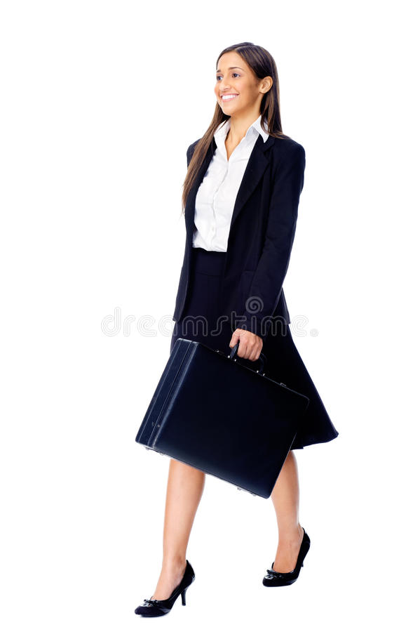 Briefcase business woman. Businesswoman wearing suit walking with briefcase isolated on white background royalty free stock photography