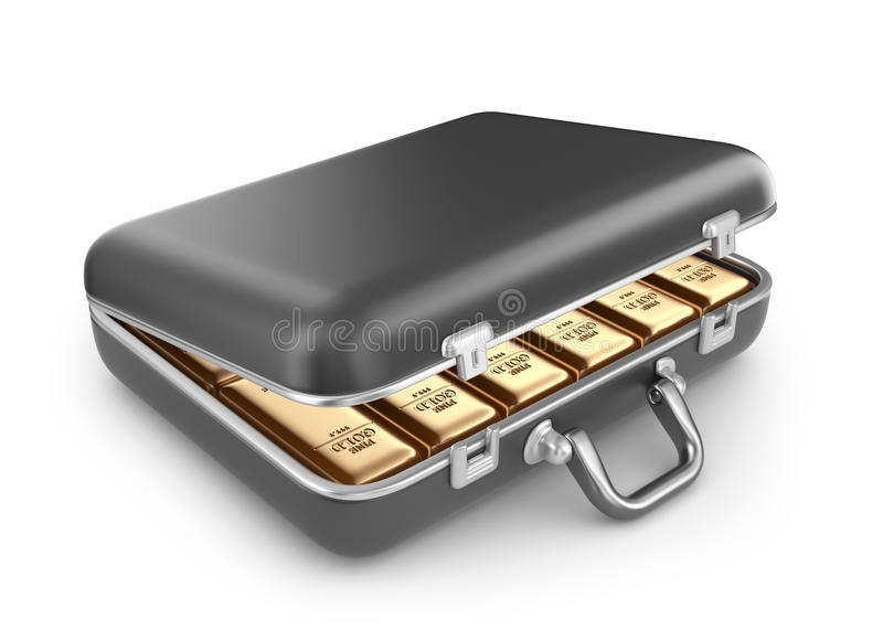Briefcase full of gold bars. 3D Icon isolated royalty free illustration