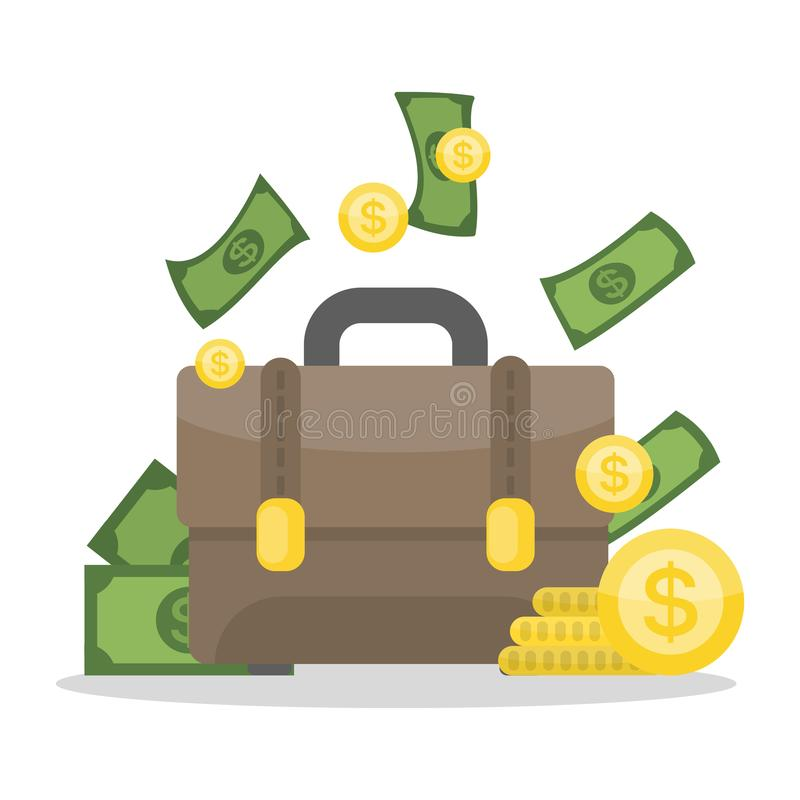 Briefcase with money. vector illustration