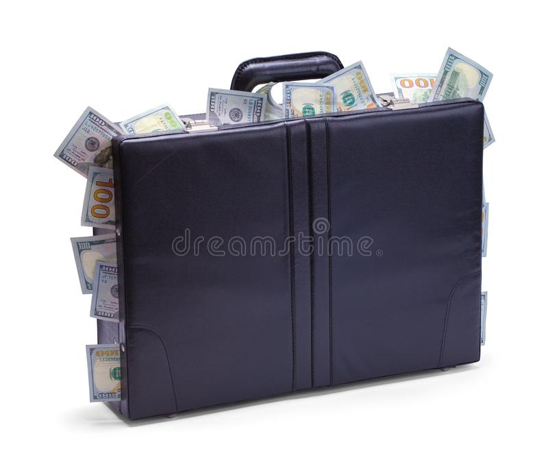 Briefcase Stuffed with Cash. Black Briefcase with Cash Sticking Out Isolated on a White Background stock photography
