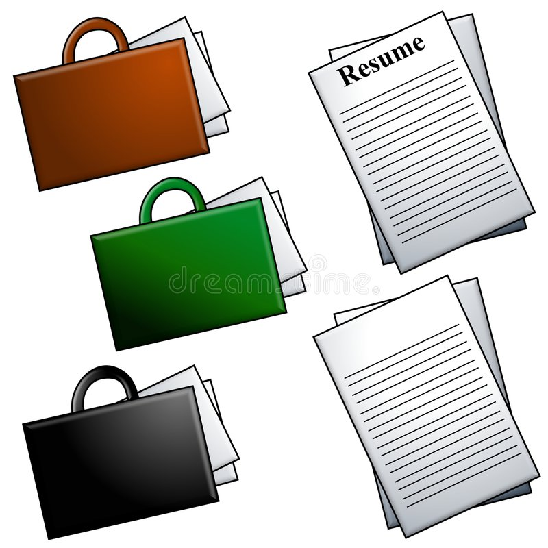 Briefcases And Resume Clip Art Stock Illustration - Illustration of ...
