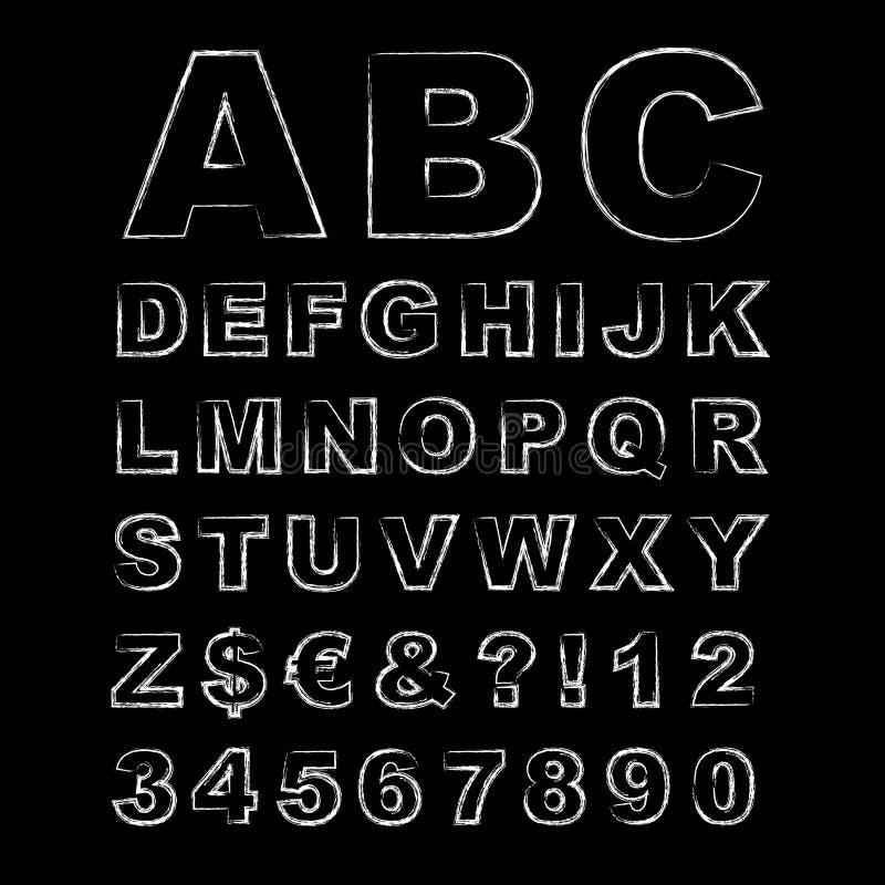 Briefe geschrieben in Kreide, Hand gezeichnetes Kreide-Alphabet lizenzfreie abbildung