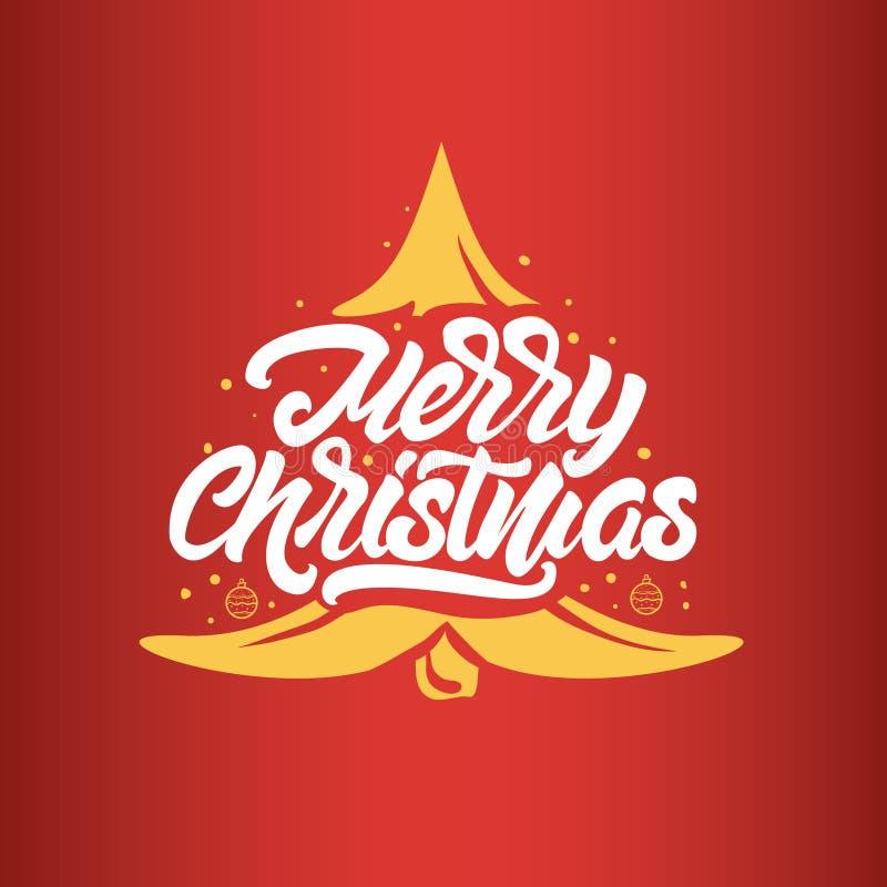 Briefgestaltungen der frohen Weihnachten Guten Rutsch ins Neue Jahr-Typografie Beschriften von Logos für Postkarte, Plakat, Gesch lizenzfreie abbildung