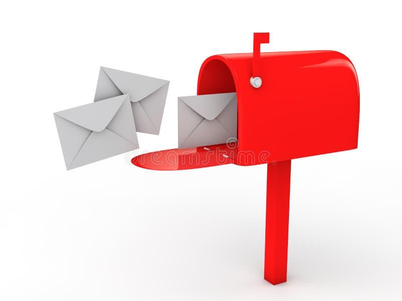 Briefkasten 3d und Umschläge stock abbildung