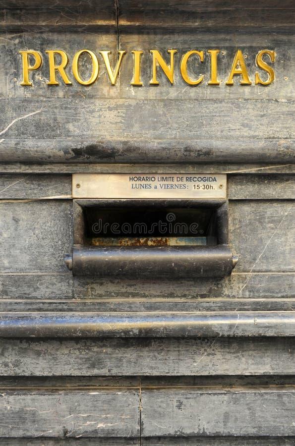 Briefkasten in der zentralen Post in Cordoba, Spanien stockbilder
