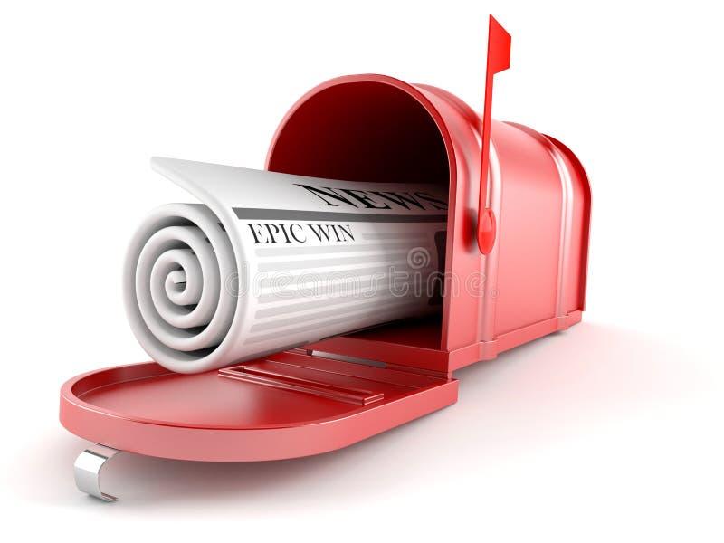 Briefkasten mit Zeitung lizenzfreie abbildung