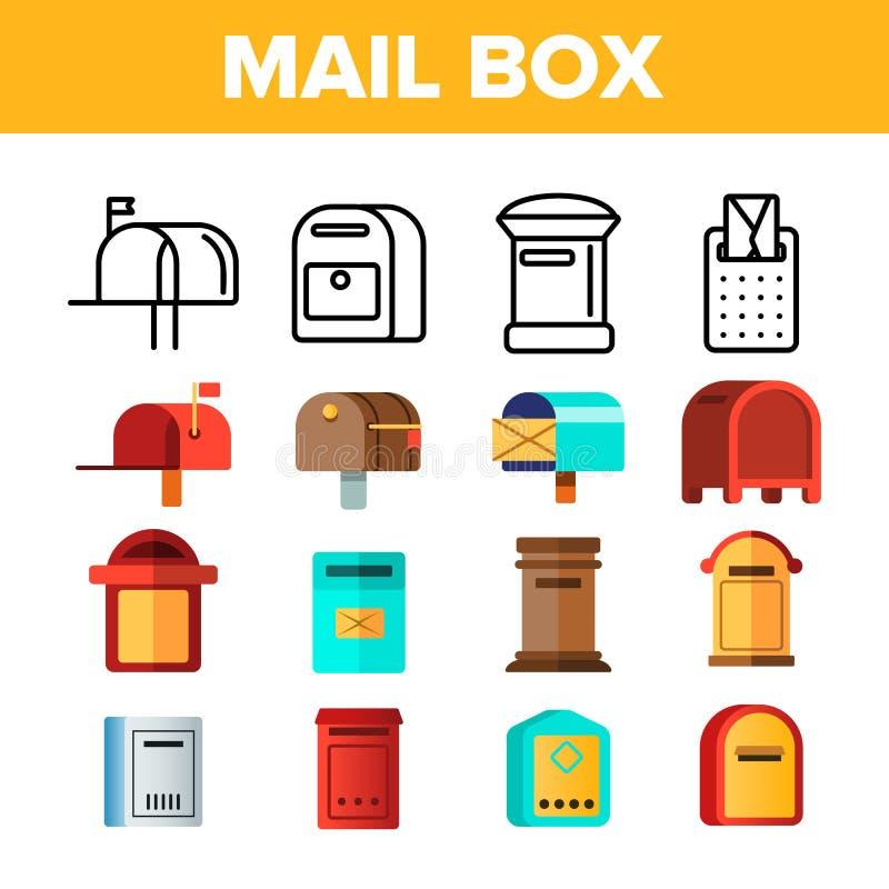 Briefkasten, Posten-linearer und flacher Vektor-Ikonen-Satz lizenzfreie abbildung