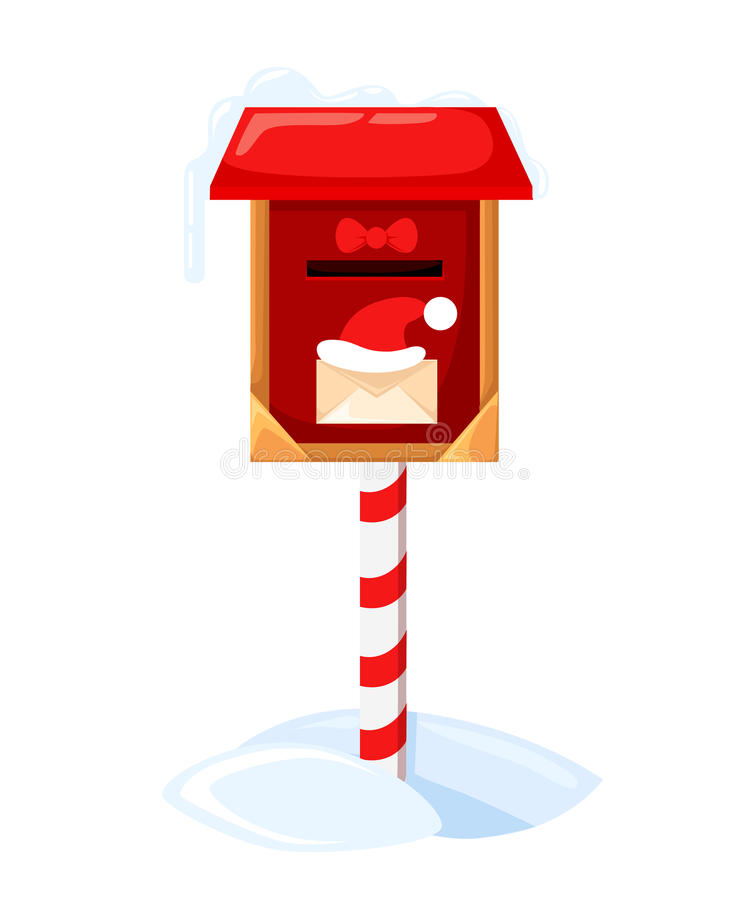 Briefkasten Sankt s Vektorillustration eines Buchstaben für Santa Claus Merry Christmas und guten Rutsch ins Neue Jahr Postwunsch lizenzfreie abbildung