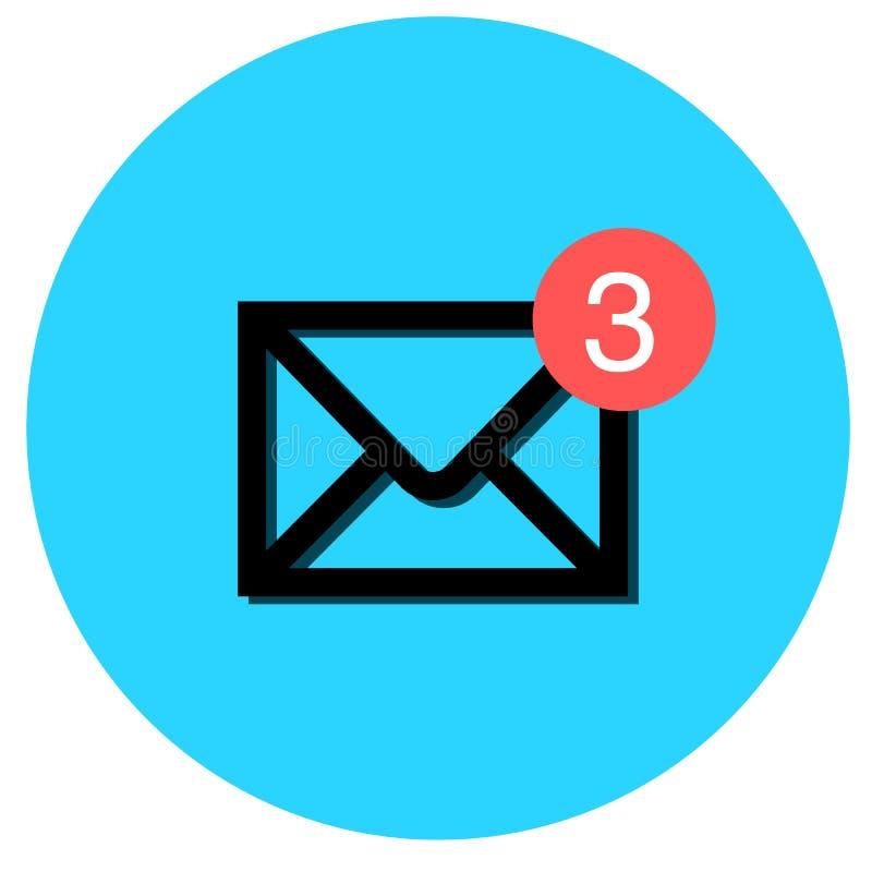 Briefkastenikone mit ungelesener Mitteilungsmitteilung auf die Oberseite stock abbildung