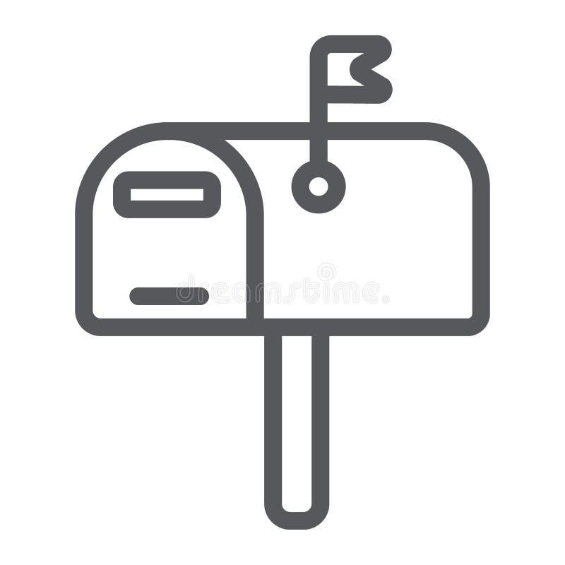 Briefkastenlinie Ikone, Posten und Adresse, pobox Zeichen, Vektorgrafik, ein lineares Muster auf einem weißen Hintergrund vektor abbildung
