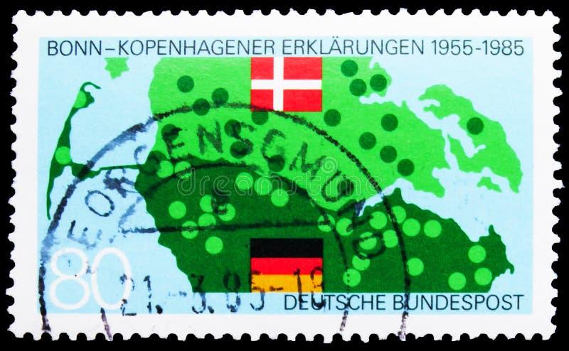 Briefmarke in Deutschland: Dänisch - Deutscher Vertrag, 30. Jahrestag der Bonner Erklärung von Kopenhagen, 80 Pf. - stockbilder