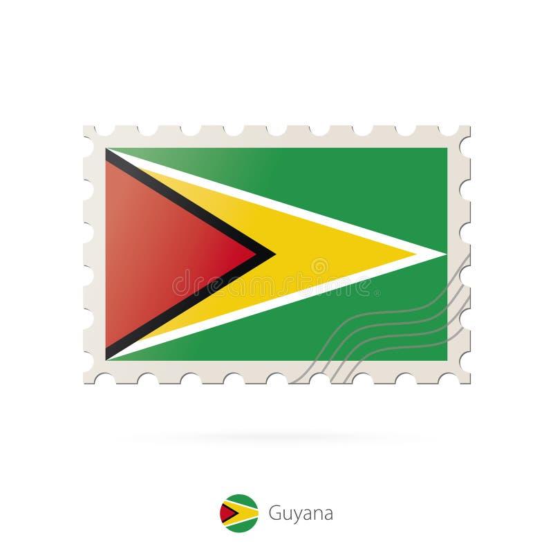 Briefmarke mit dem Bild von Guyana-Flagge stock abbildung