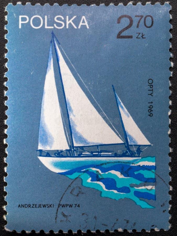 Briefmarke 1974 polen Bilder von Schiffen lizenzfreies stockfoto