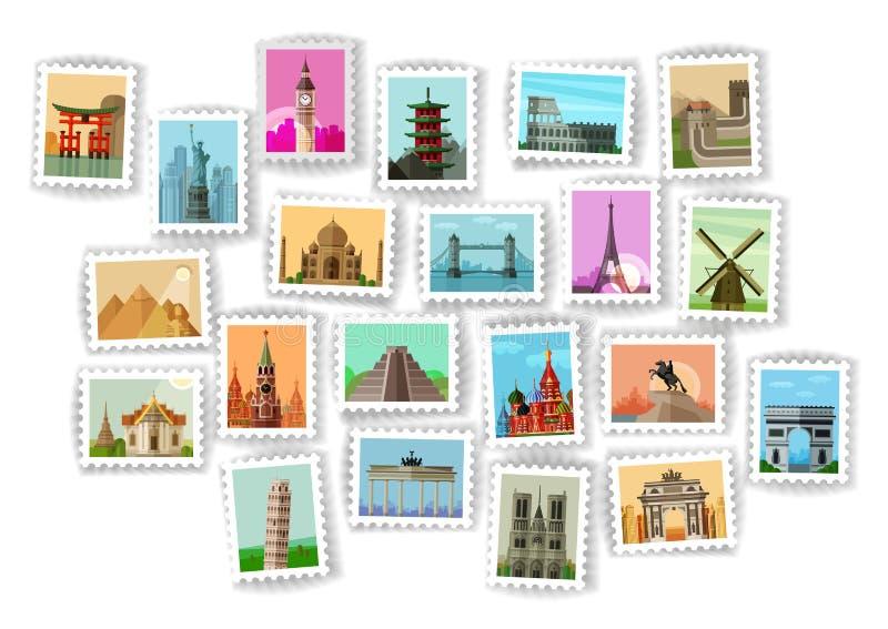 Briefmarke Reisenikonen eingestellt lizenzfreie abbildung