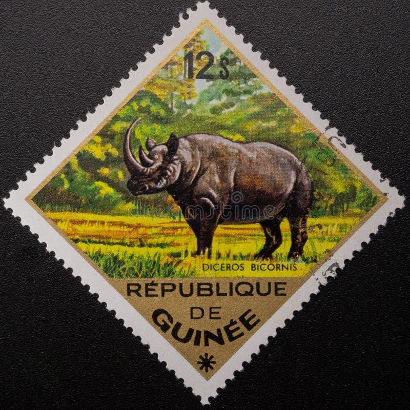 Briefmarke 1975 Republik Guinea Wilde Tiere lizenzfreie stockfotos