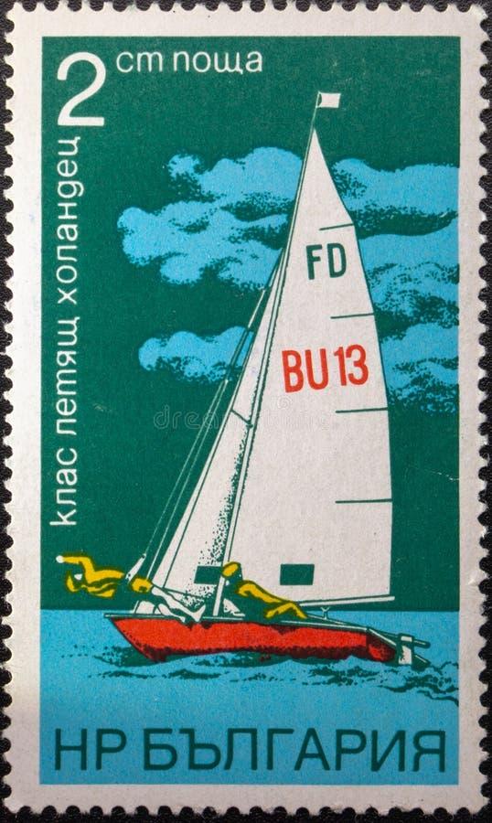 Briefmarke 1973 segeln bulgarien stockfotografie