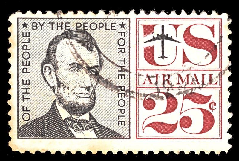 Briefmarke von USA luftpost Mit portret von Cent Präsidenten Abraham Lincoln 25 stockfoto