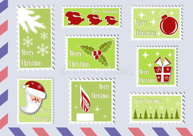 Briefmarke Weihnachtsansammlungen. lizenzfreie abbildung