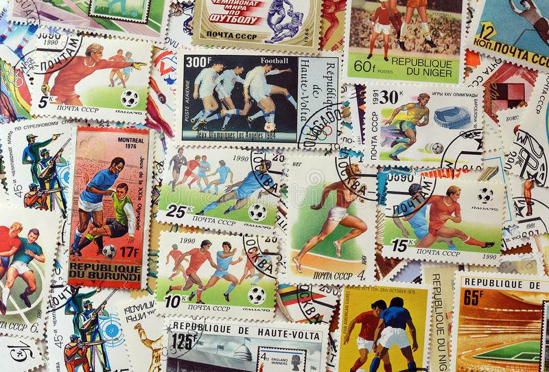 Briefmarkefußball stockbilder