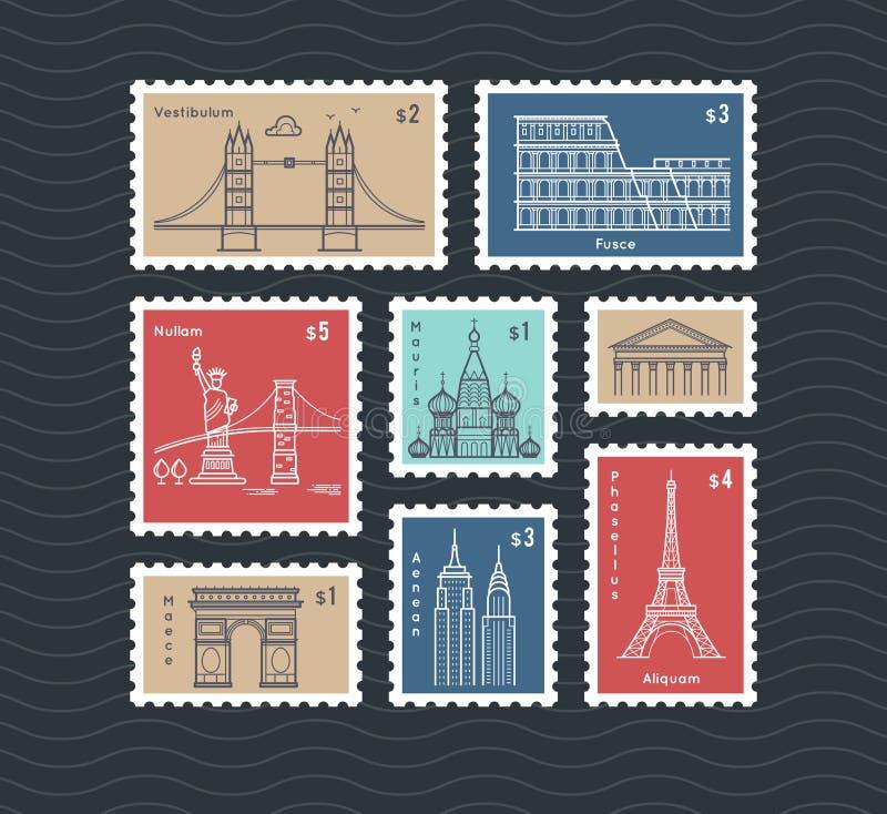 Briefmarken mit Linie reisender Stadtnationaldenkmal-Vektorsatz lizenzfreie abbildung