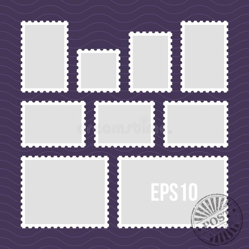 Briefmarken mit perforiertem Rand und Poststempel vector Schablone stock abbildung