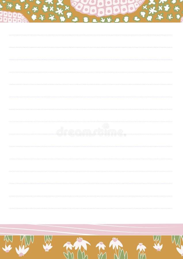 Briefpapierbriefpapier des Vektors bedruckbares in washi Art für Mädchen Anmerkungsfreier raum und -aufkleber für Tagebuch, Notiz vektor abbildung