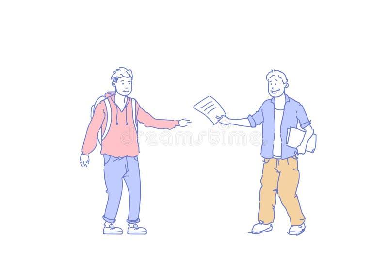 Briefträger überreichen Mannleutekommunikationskonzeptes des Briefpapier-Dokuments Zeichentrickfilm-Figur-Skizzengekritzel des zu vektor abbildung