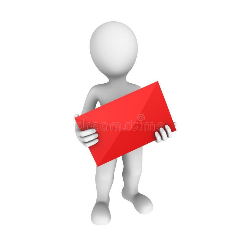 Briefträger 3d mit Buchstaben vektor abbildung