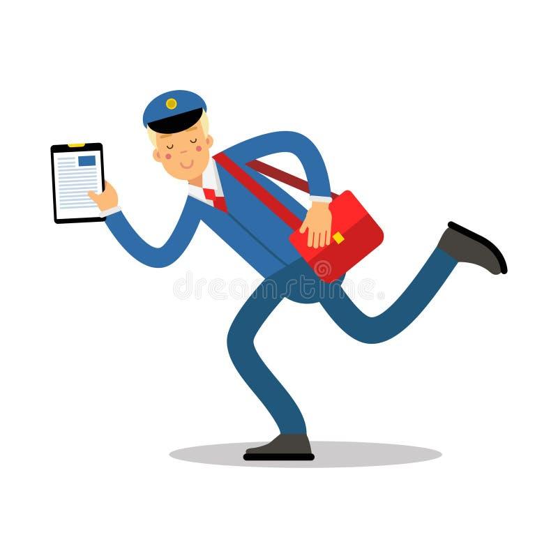 Briefträger in der blauen Uniform mit roter laufender Zeichentrickfilm-Figur der Tasche und des Klemmbrettes, Kurierdienstpost-Ve stock abbildung