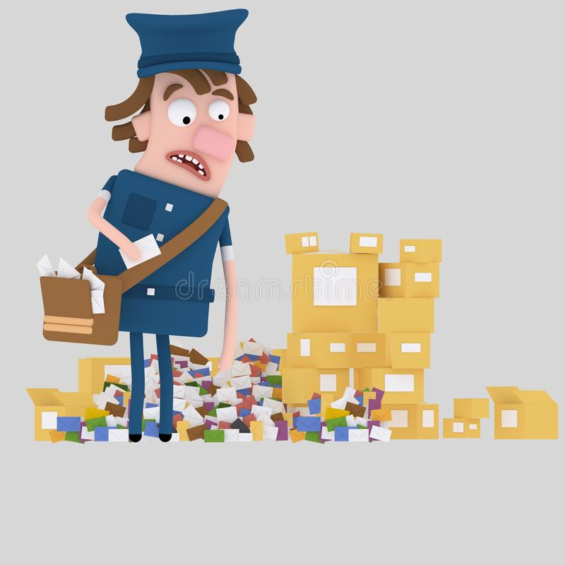 Briefträger, der Haufen von Buchstaben und von Kasten betrachtet 3d stock abbildung