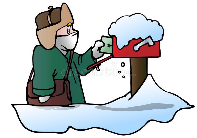 Briefträger im Winter vektor abbildung