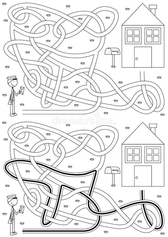 Briefträgerlabyrinth lizenzfreie abbildung