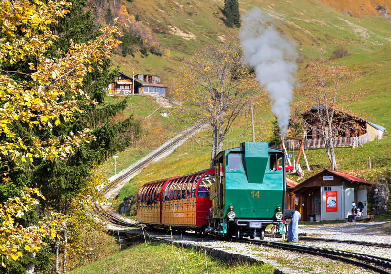 brienz-Rothorn Kolej, Szwajcaria - Parowy Pociąg fotografia royalty free