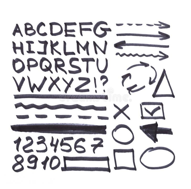 Brieven, aantallen, pijlen, wiskundige die symbolen, lijnen, in zwarte teller worden geschreven vector illustratie