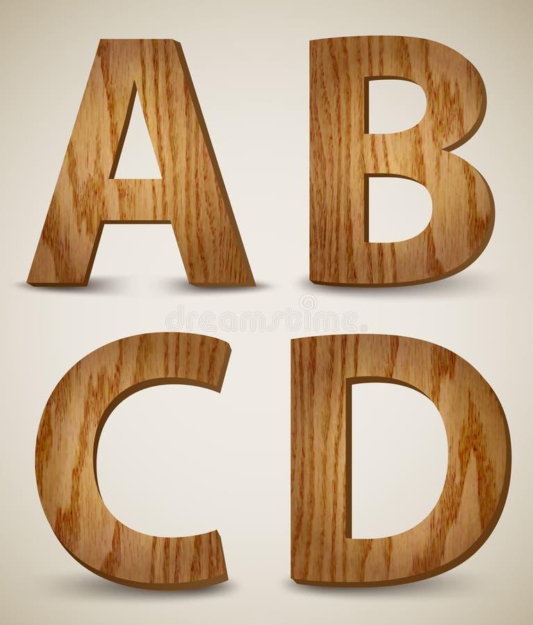 Brieven A, B, C, D. Vector van het Grunge de Houten Alfabet vector illustratie