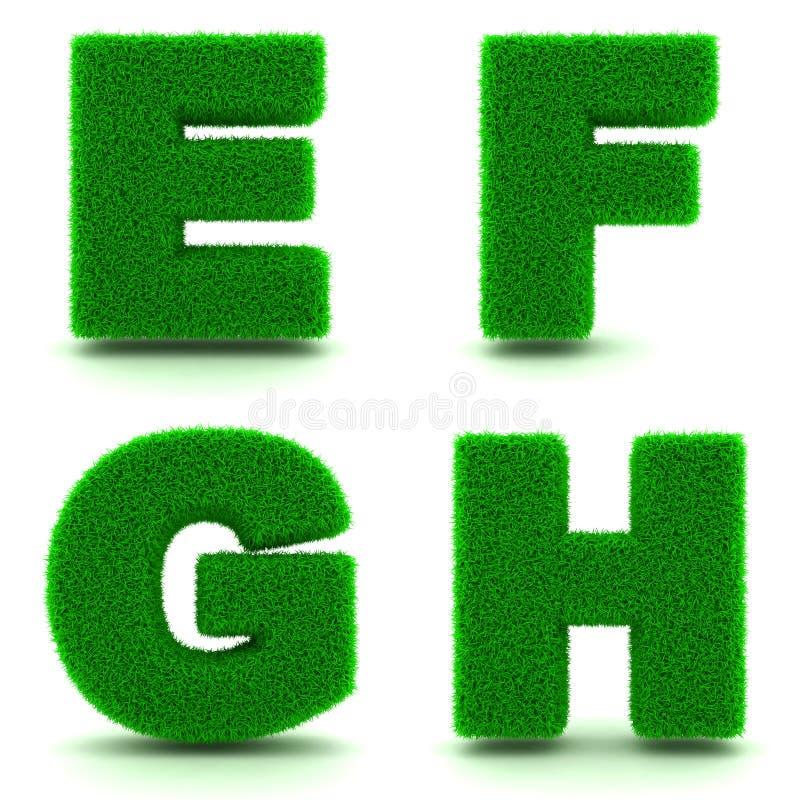 Brieven E, F, G, H Alfabetreeks van Groen Gras stock illustratie