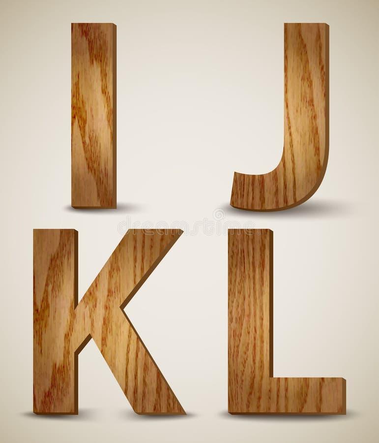 Brieven I, J, K, L. Vector van het Grunge Houten Alfabet vector illustratie