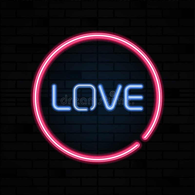 Brieven van het het neonteken van het liefdehart de roze op bakstenen muur vectorillustratie stock illustratie